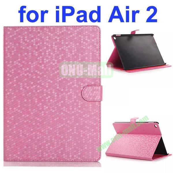 Diamond Texture Flip Leather Case with Back Cover for iPad Air 2 with Gears (Pink)