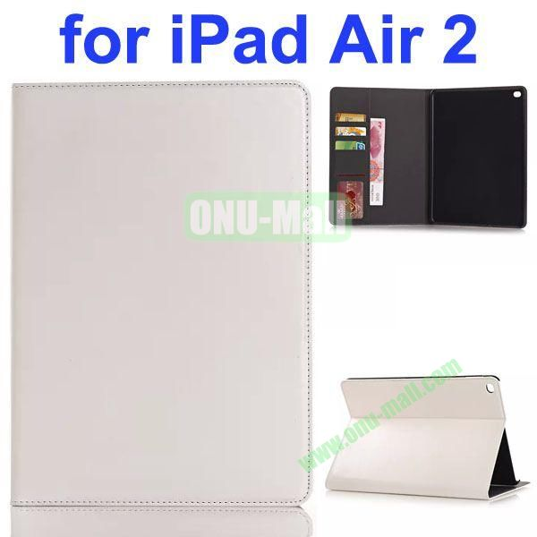Crazy Horse Texture PU Leather Case for iPad Air 2 with Card Slots and Stand (White)