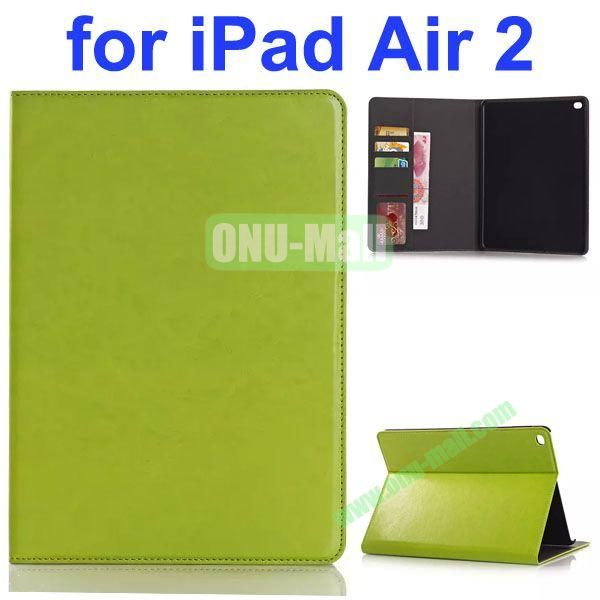 Crazy Horse Texture PU Leather Case for iPad Air 2 with Card Slots and Stand (Green)