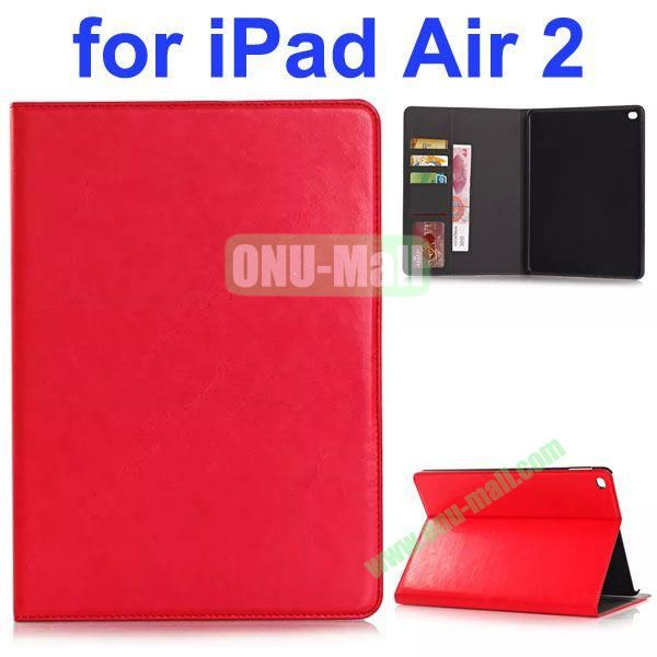 Crazy Horse Texture PU Leather Case for iPad Air 2 with Card Slots and Stand (Red)
