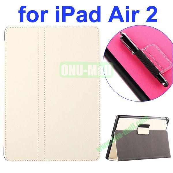 2- folding Magnetic Flip Stand Denim Texture Leather Case for iPad Air 2 with a Hole for Holding Pen (White)