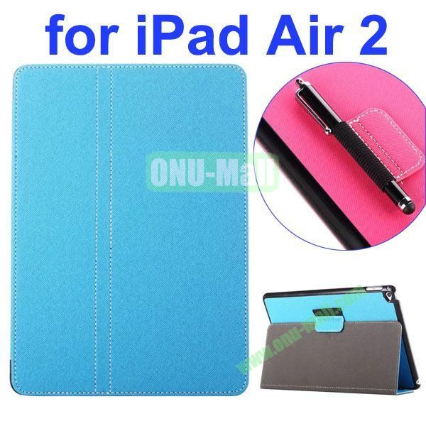 2- folding Magnetic Flip Stand Denim Texture Leather Case for iPad Air 2 with a Hole for Holding Pen (Blue)
