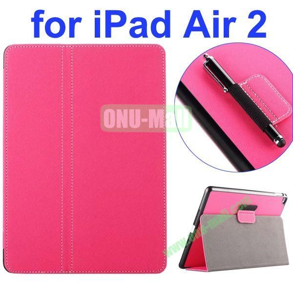 2- folding Magnetic Flip Stand Denim Texture Leather Case for iPad Air 2 with a Hole for Holding Pen (Rose)