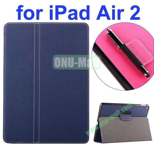 2- folding Magnetic Flip Stand Denim Texture Leather Case for iPad Air 2 with a Hole for Holding Pen (Dark Blue)