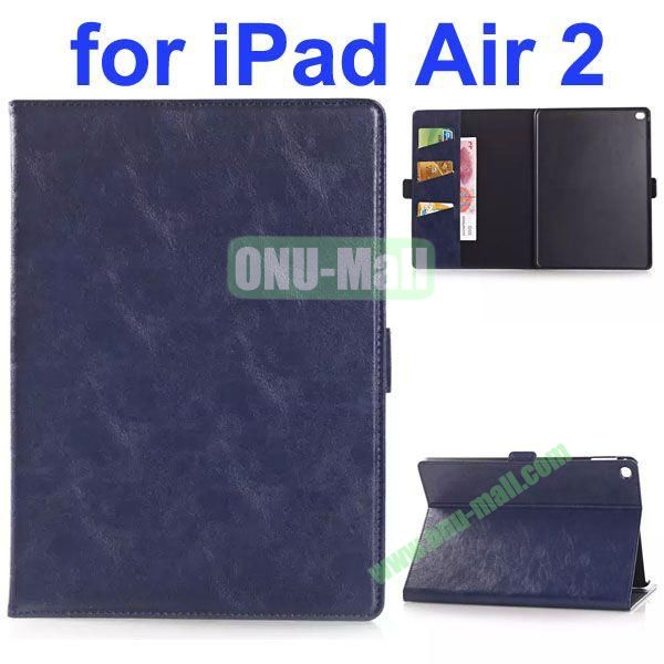 Oil Coated PU Flip Leather Case for iPad Air 2 with Stand (Dark Blue)
