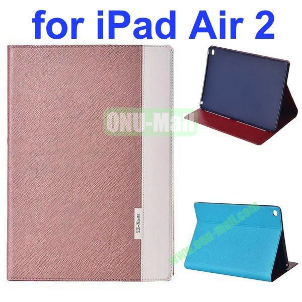 Cross Texture Color Combination Flip Leather Case for iPad Air 2 with Holder (Gold+White)