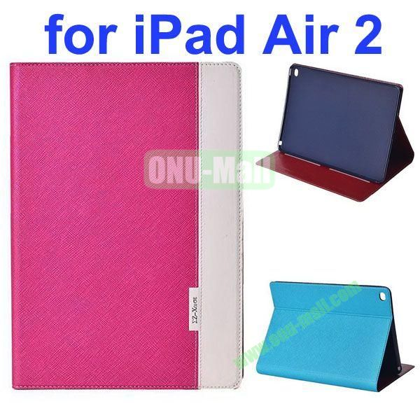 Cross Texture Color Combination Flip Leather Case for iPad Air 2 with Holder (Rose+White)