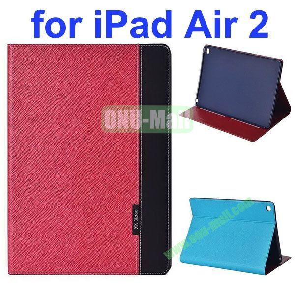 Cross Texture Color Combination Flip Leather Case for iPad Air 2 with Holder (Red+Black)