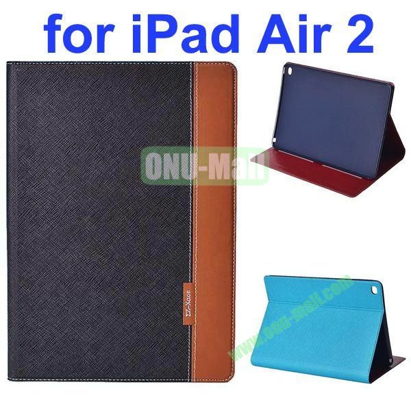 Cross Texture Color Combination Flip Leather Case for iPad Air 2 with Holder (Black+Brown)