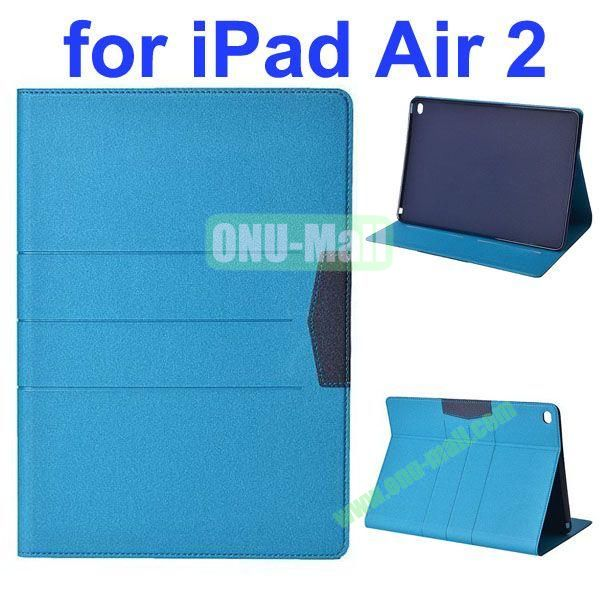 Glitter Powder Frosted Flip Leather Case for iPad Air 2 with Holder (Light Blue)
