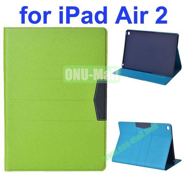 Glitter Powder Frosted Flip Leather Case for iPad Air 2 with Holder (Green)