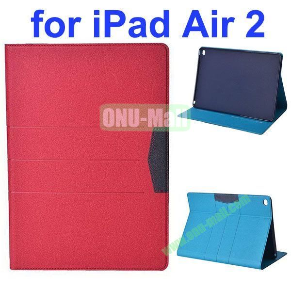 Glitter Powder Frosted Flip Leather Case for iPad Air 2 with Holder (Red)