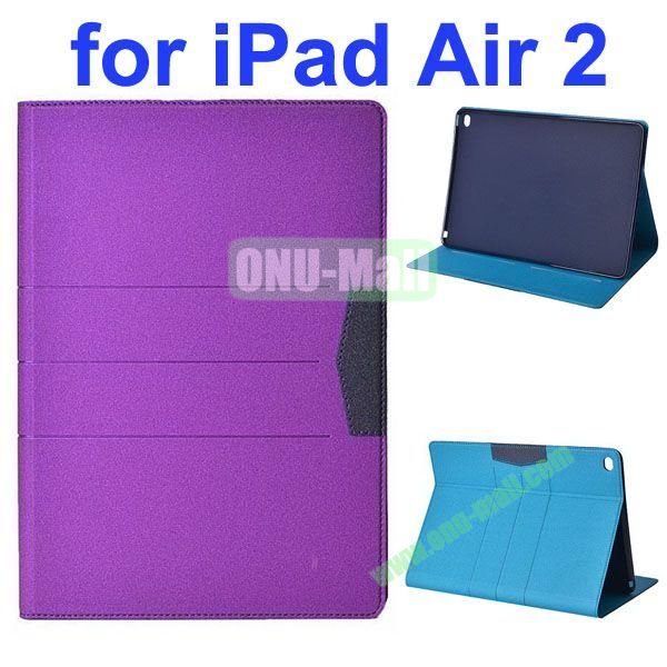 Glitter Powder Frosted Flip Leather Case for iPad Air 2 with Holder (Purple)