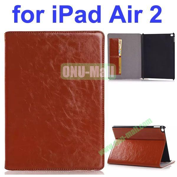 Crazy Horse Texture Genuine Leather Case for iPad Air 2 (Brown)