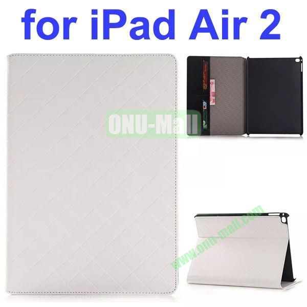 Grid Pattern Flip PU Leather Case for iPad Air 2 (White)