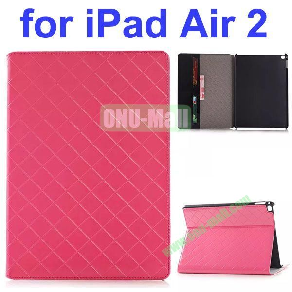 Grid Pattern Flip PU Leather Case for iPad Air 2 (Pink)