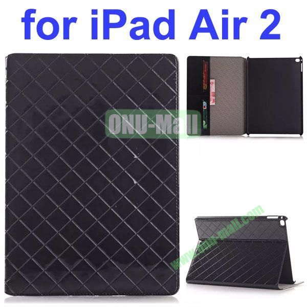 Grid Pattern Flip PU Leather Case for iPad Air 2 (Black)