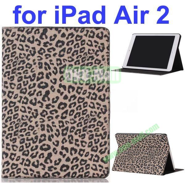 Leopard Pattern PU Leather Case for iPad Air 2 with Gears and Sleep Function (Brown)