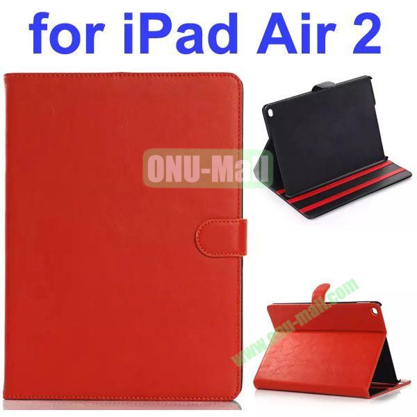 Retro Pattern Smooth Texture PU Case for iPad Air 2 with Gears (Dark Red)