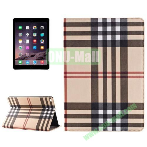 Color Grid Pattern Flip PU Leather Case for iPad Air 2 (White)