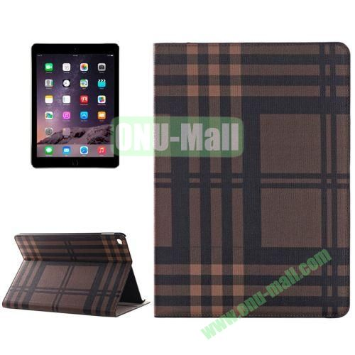 Color Grid Pattern Flip PU Leather Case for iPad Air 2 (Brown)