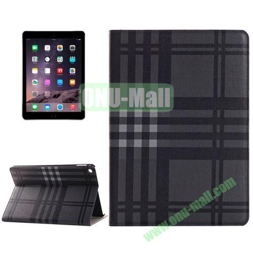 Color Grid Pattern Flip PU Leather Case for iPad Air 2 (Black)