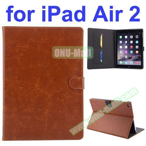 Crazy Horse Pattern Flip PU Leather Case for iPad Air 2 (Brown)