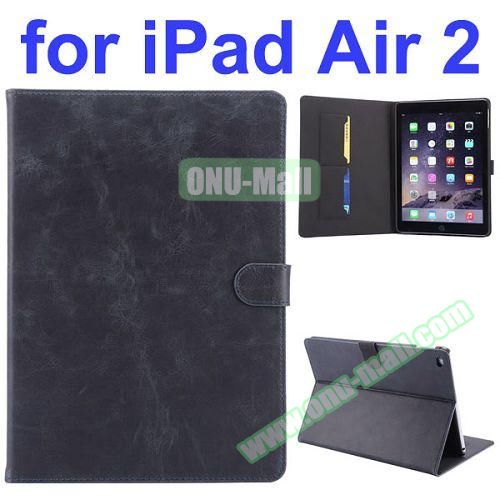 Crazy Horse Pattern Flip PU Leather Case for iPad Air 2 (Black)