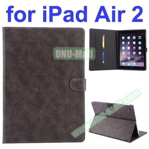 Crazy Horse Pattern Flip PU Leather Case for iPad Air 2 (Grey)