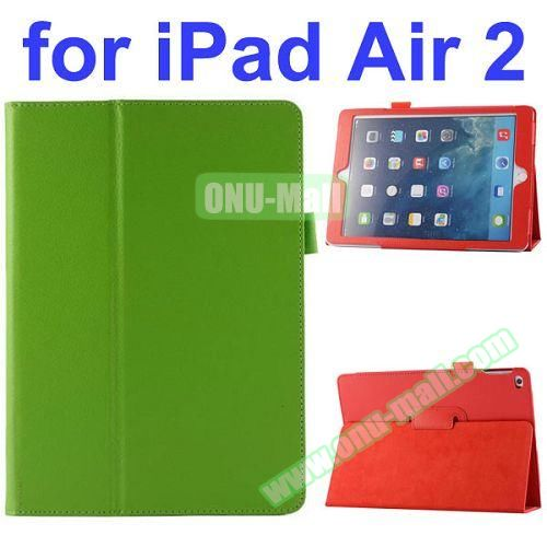 Litchi Pattern Flip Stand PU Leather Case for iPad Air 2 (Green)