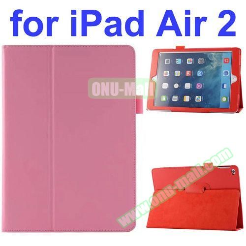 Litchi Pattern Flip Stand PU Leather Case for iPad Air 2 (Pink)