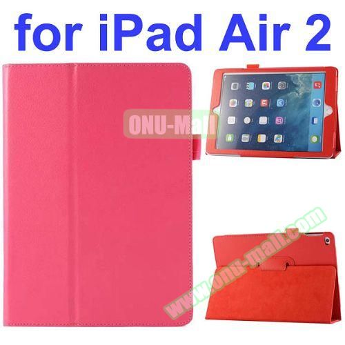 Litchi Pattern Flip Stand PU Leather Case for iPad Air 2 (Rose)