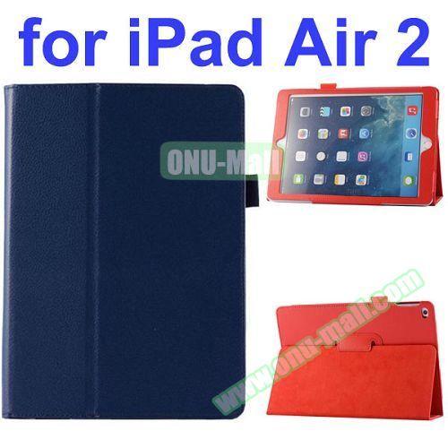 Litchi Pattern Flip Stand PU Leather Case for iPad Air 2 (Dark Blue)