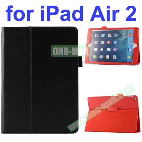 Litchi Pattern Flip Stand PU Leather Case for iPad Air 2 (Black)