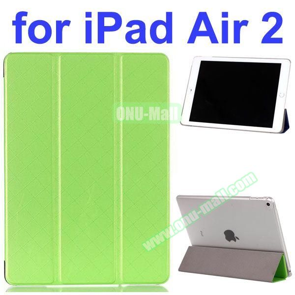 Pure Pattern Grid Texture 3 Folding Flip Leather Case for iPad Air 2 with Crystal Back Cover (Green)
