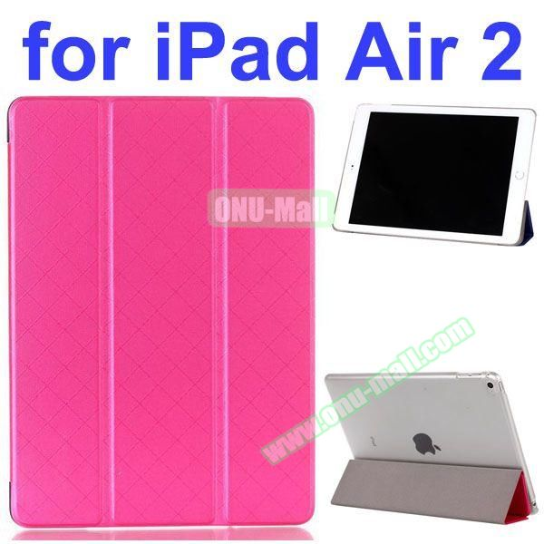 Pure Pattern Grid Texture 3 Folding Flip Leather Case for iPad Air 2 with Crystal Back Cover (Rose)
