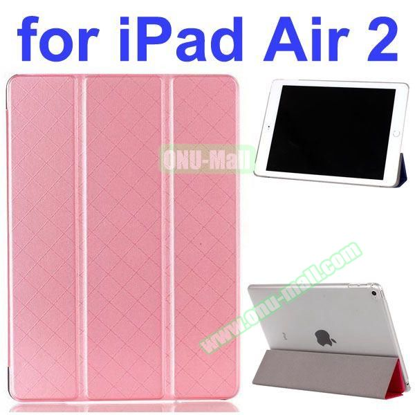 Pure Pattern Grid Texture 3 Folding Flip Leather Case for iPad Air 2 with Crystal Back Cover (Pink)