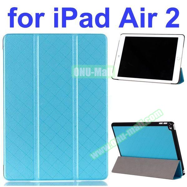 Pure Grid Pattern 3 Folding PU Leather Case for iPad Air 2 with Stand (Blue)