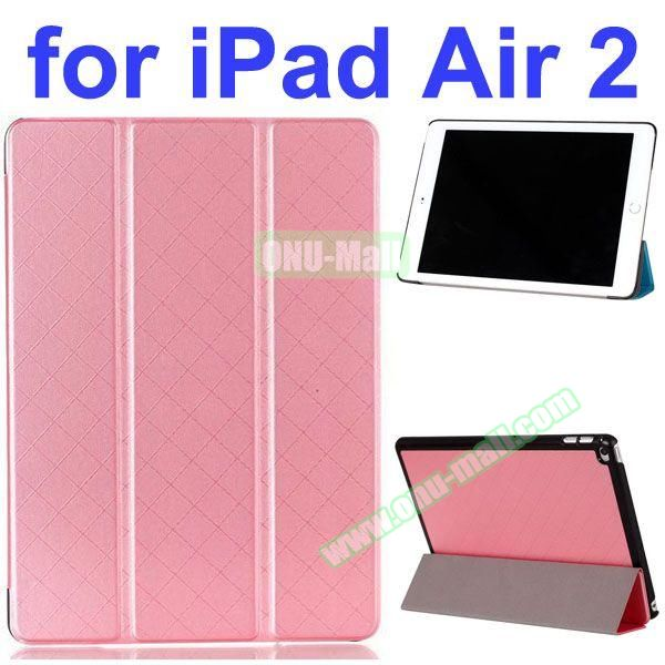 Pure Grid Pattern 3 Folding PU Leather Case for iPad Air 2 with Stand (Pink)