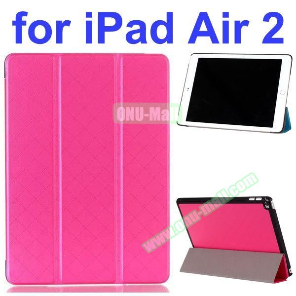 Pure Grid Pattern 3 Folding PU Leather Case for iPad Air 2 with Stand (Rose)