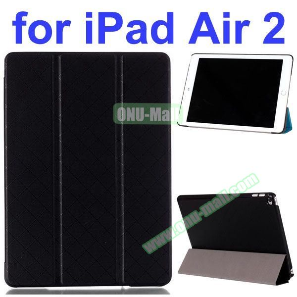 Pure Grid Pattern 3 Folding PU Leather Case for iPad Air 2 with Stand (Black)