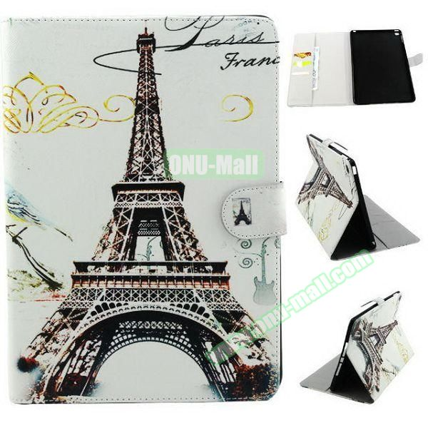 Personalized Design Flip Pattern PU Leather Case for iPad Air 2 with Magnetic Closure (Eiffel Tower)