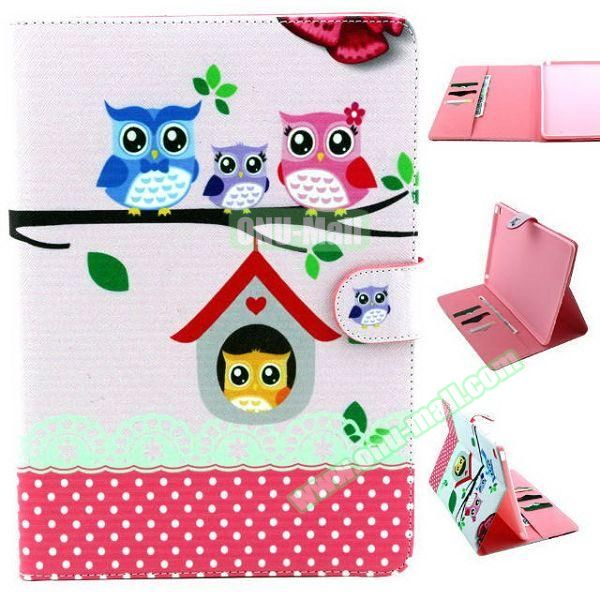 Personalized Design Flip Pattern PU Leather Case for iPad Air 2 with Magnetic Closure (Happy Owls)