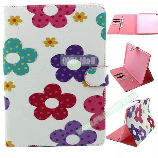 Personalized Design Flip Pattern PU Leather Case for iPad Air 2 with Magnetic Closure (Flower Design)