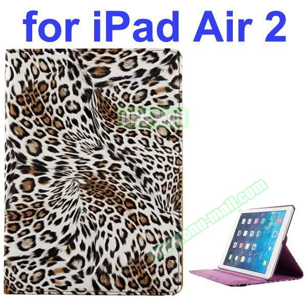 360 Rotating Style Leopard Pattern PU Leather Case for iPad Air 2 with Filco (White)