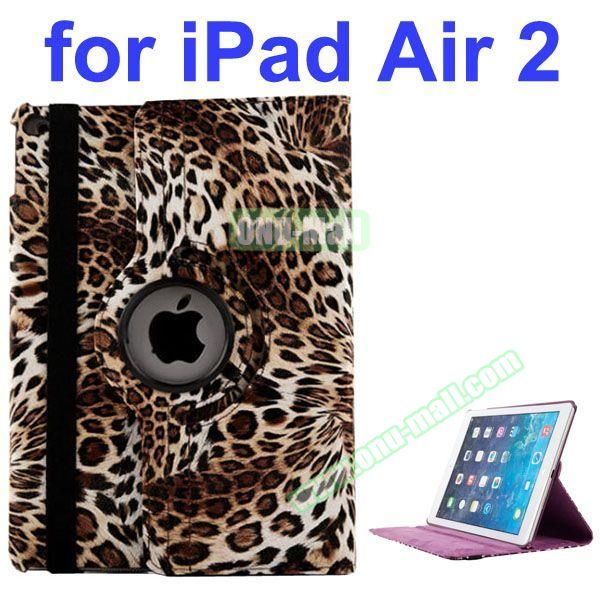 360 Rotating Style Leopard Pattern PU Leather Case for iPad Air 2 with Filco (Yellow)