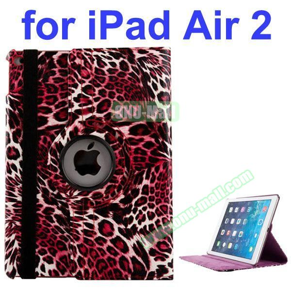 360 Rotating Style Leopard Pattern PU Leather Case for iPad Air 2 with Filco (Red)