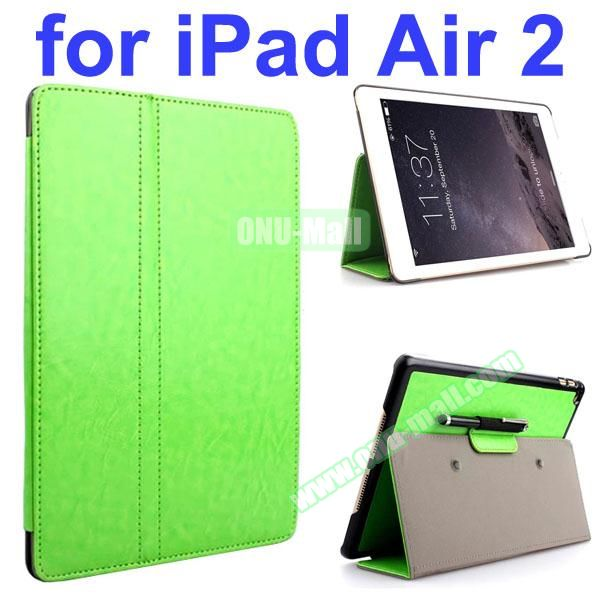Crazy Horse 2 Folding Stand  Flip PU Leather Case with Suckers and Pen Holder for iPad Air 2 (Green)