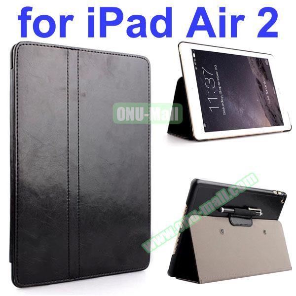 Crazy Horse 2 Folding Stand  Flip PU Leather Case with Suckers and Pen Holder for iPad Air 2 (Black)