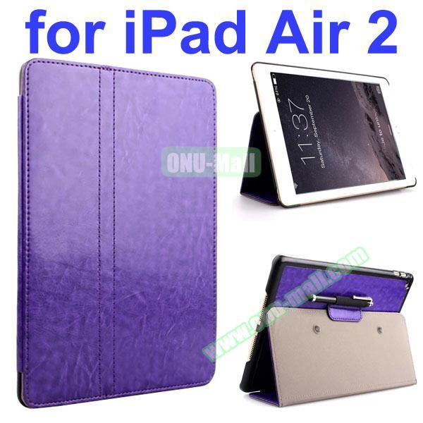 Crazy Horse 2 Folding Stand  Flip PU Leather Case with Suckers and Pen Holder for iPad Air 2 (Purple)